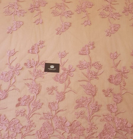 Raspberry pink floral pattern embroidery sequins on soft tulle fabric. Photo 8