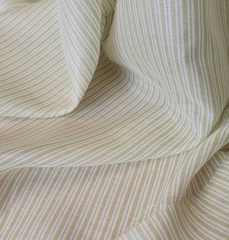 Green stripes with white viscose fabric. Photo 5