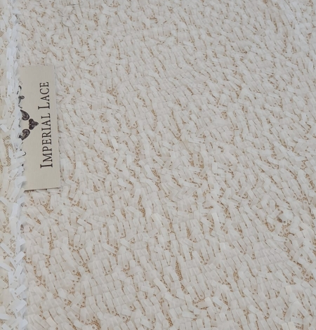 Offwhite beaded lace fabric. Photo 10