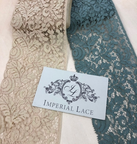 Blue-green with grey shade vintage style lace trim. Photo 3