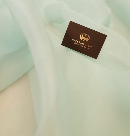 Mint green silk organza for embroidery . Photo 2