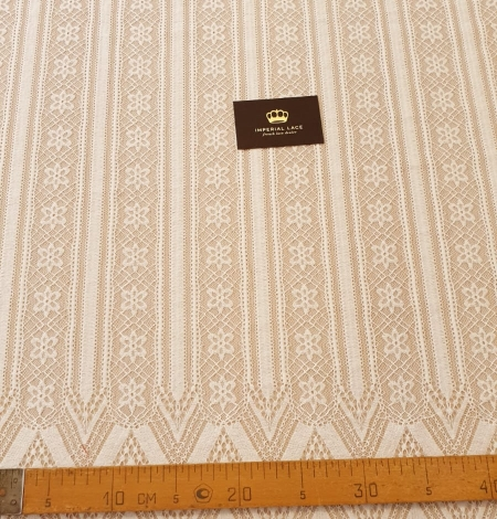 Ivory 100% polyester stripes and flowers guipure lace fabric. Photo 11