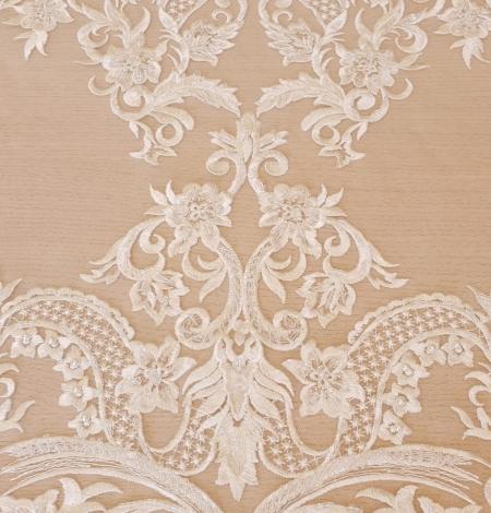 Ivory beaded lace fabric. Photo 4