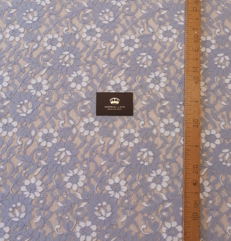 Greyish blue with white floral pattern guipure lace fabric. Photo 6