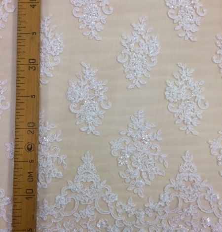 Ivory beads Lace fabric. Photo 4