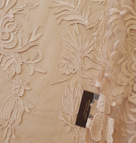 Beige sequin embroidery on soft tulle fabric. Photo 1