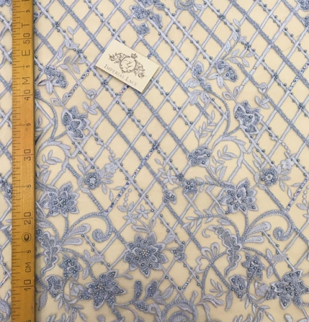 Blue beaded embroidery lace fabric. Photo 5