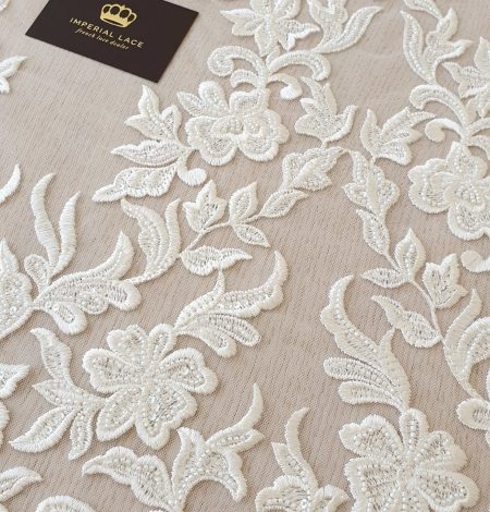 Ivory thick embroidery beaded lace fabric. Photo 4