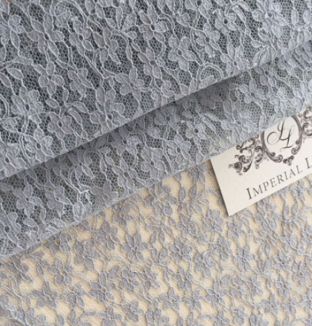 Grey Sophie Hallette lace fabric. Photo 1