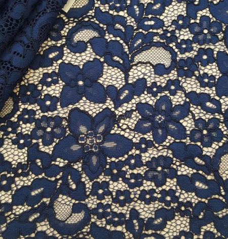 Navy Blue Lace Fabric. Photo 1