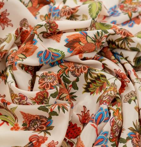 Multicolor floral printed silk crepe fabric. Photo 4