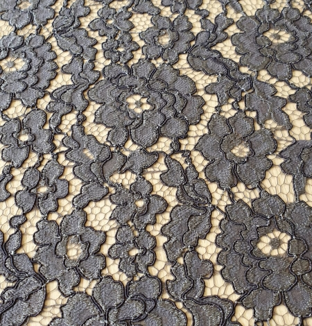 Grey floral pattern cord thread guipure lace fabric. Photo 7