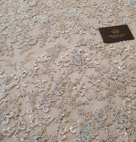 Beige beaded lace fabric. Photo 4