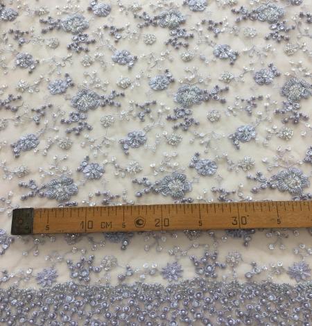 Grey beaded lace fabric. Photo 10
