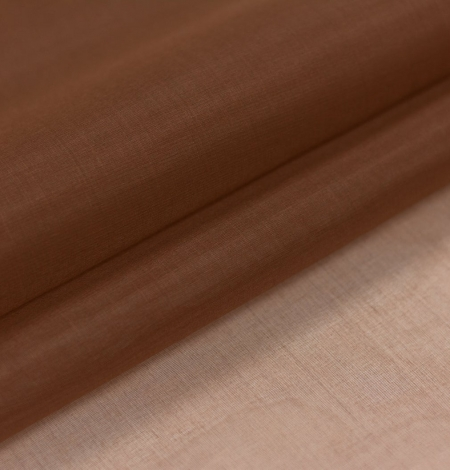 Brown silk organza fabric . Photo 1