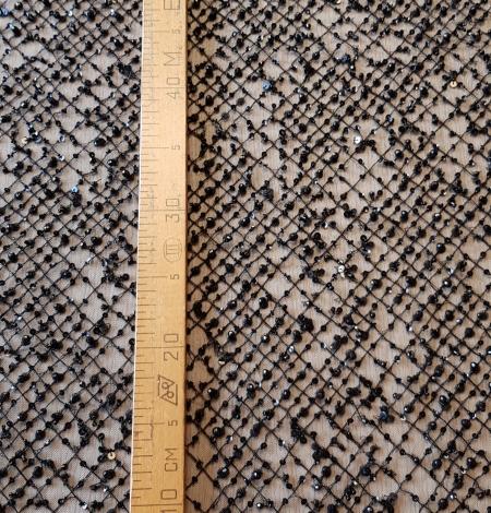 Black beaded lace fabric. Photo 6