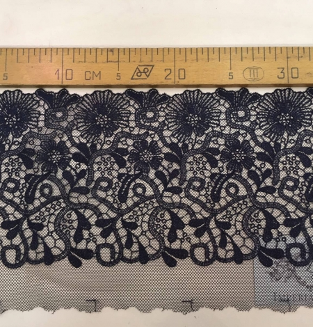 Blue-gray embroidery on soft black tulle. Photo 5