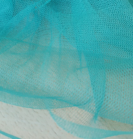 Turquoise silk tulle fabric. Photo 8