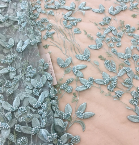 Mint green organic leaf pattern embroidery lace fabric. Photo 4