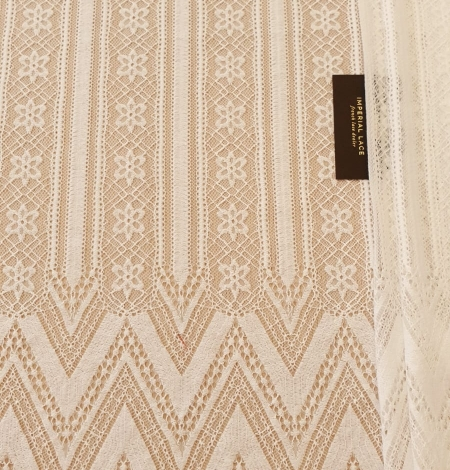 Ivory 100% polyester stripes and flowers guipure lace fabric. Photo 8
