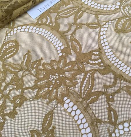 Khaki green lace fabric. Photo 7