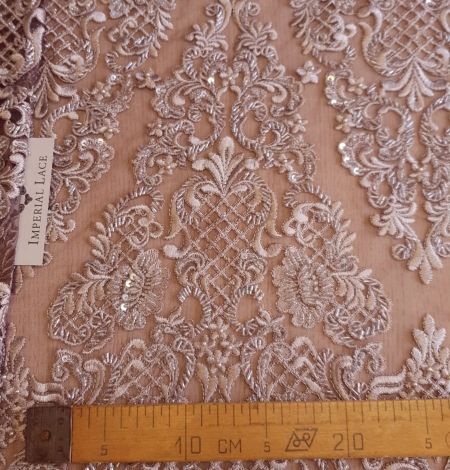 Luxury brown beaded lace fabric. Photo 9