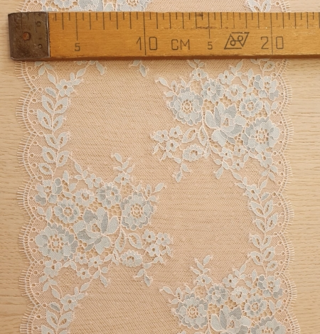 Blue with pink tulle floral pattern chantilly lace trimming. Photo 6