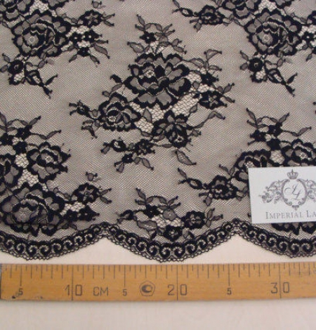 Black lace fabric Chantilly Lace. Photo 4