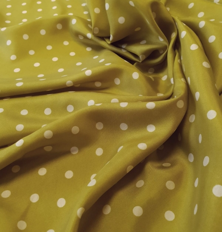Olive green white dotted silk lining fabric. Photo 5