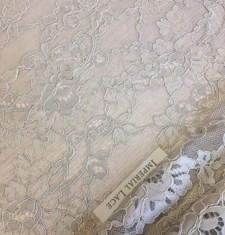Beige lace fabric. Photo 6