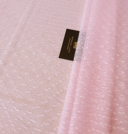 Light pink dotted tulle fabric. Photo 2