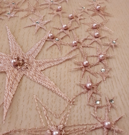 Old Rose stars embroidery on tulle fabric. Photo 4