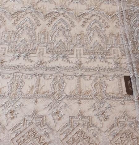 Beigish gray geometric with hanging details beaded lace fabrics. Photo 8