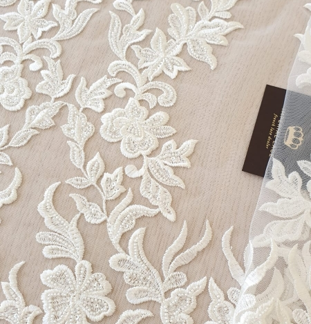 Ivory thick embroidery beaded lace fabric. Photo 1