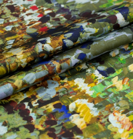 Multicolor painting printed twill polyester fabric. Photo 3