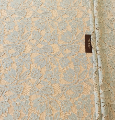 Beige with blue 70% cotton with 30% polyester guipure lace fabric . Photo 10
