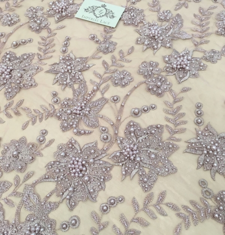Old rose color flowers lace fabric 3D. Photo 3