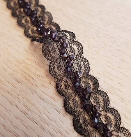 Black with dark violet beads chantilly lace trimming. Photo 3