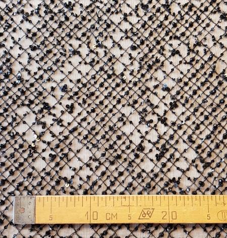 Black beaded lace fabric. Photo 7