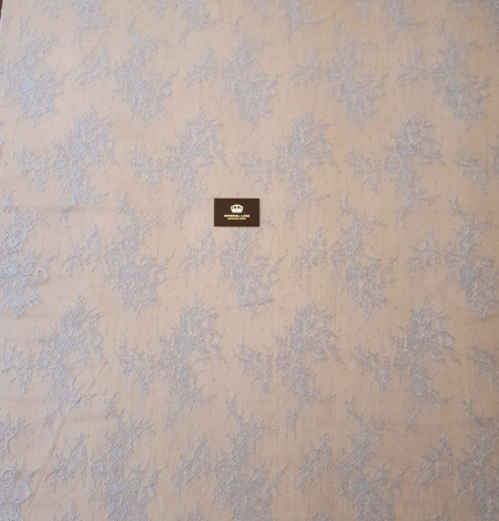 light blue floral pattern chantilly lace fabric. Photo 8
