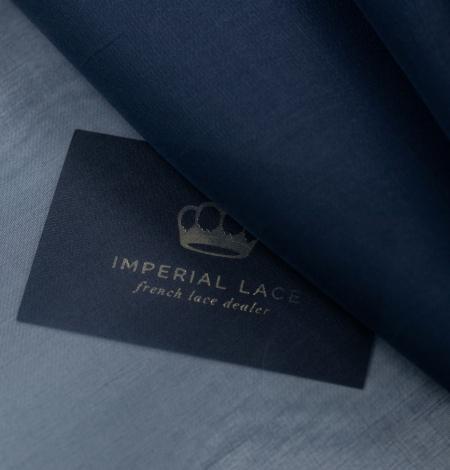 Dark blue silk organza fabric. Photo 4