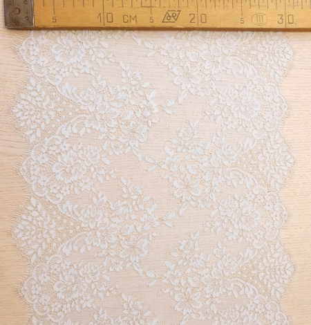 Light blue with gold floral pattern chantilly lace trimming. Photo 8