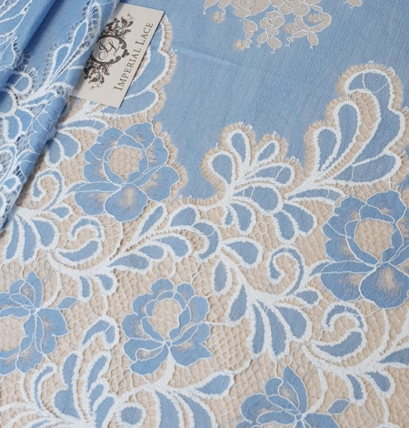 Light blue with white flower pattern fabric. Photo 3