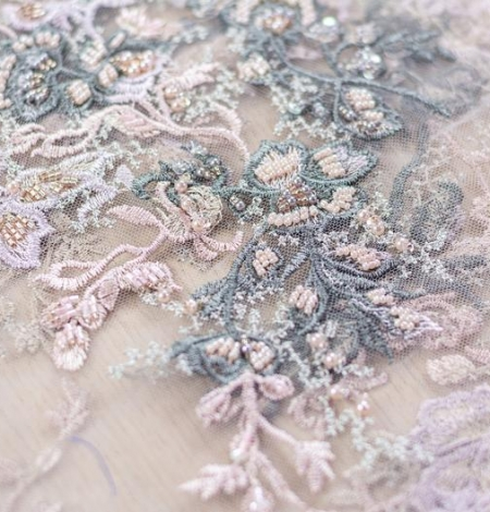 Dark greyish pink embroidery on light grey tulle fabric. Photo 5