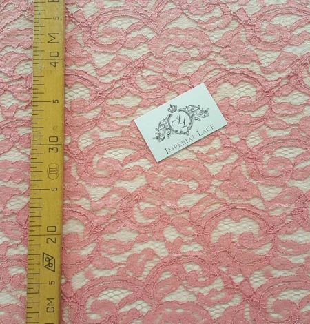 Salmon Lace Fabric. Photo 4