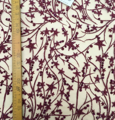 Burgundy 3D lace fabric, Luxury hand made beads by 3D flowers. Photo 5