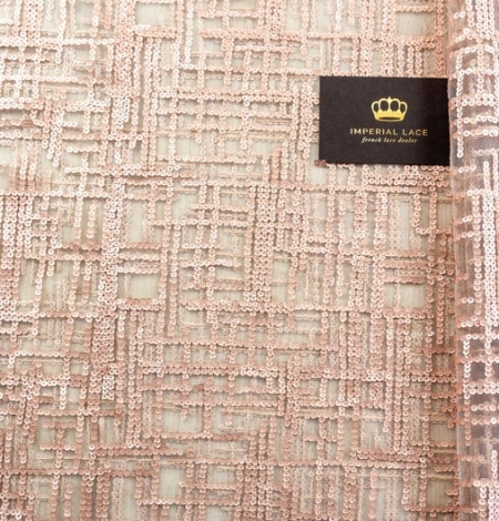 Rose gold sequins embroidered fabric . Photo 1