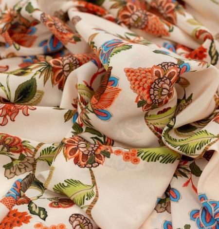 Multicolor floral printed silk crepe fabric. Photo 3