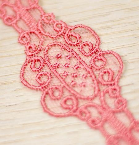Coral pink macrame lace trim. Photo 4