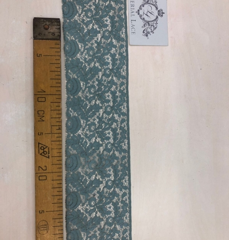 Blue-green with grey shade vintage style lace trim. Photo 7